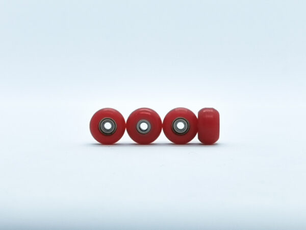 Product picture of red fingerboard wheels with bearings