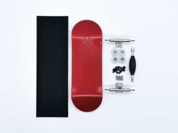Product picture of red wooden fingerboard complete